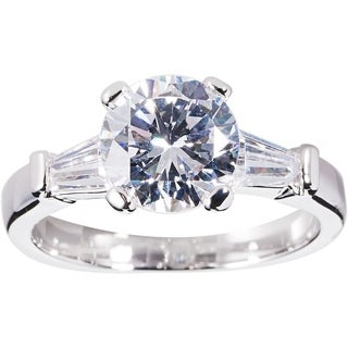 Simon Frank 1 1/2ct ct TDW Round and Baguette-cut CZ Bridal-inspired Ring