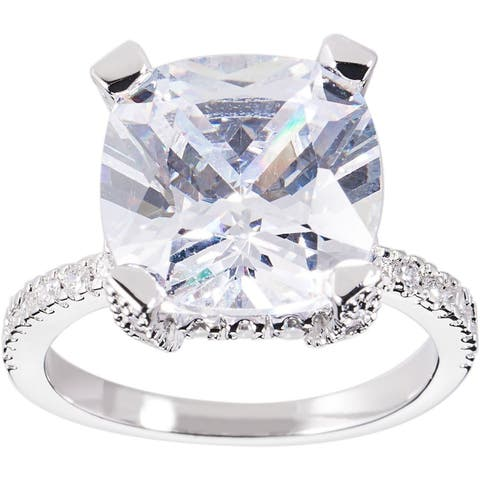 Silver Cushion-cut Cubic Zirconia Bridal/Engagement Ring by Simon Frank Designs