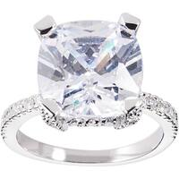Simon Frank Designs 3.56ct. Cushion-cut CZ Engagement / Anniversary Ring - Silver