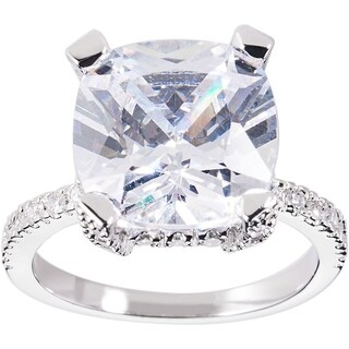 Simon Frank Designs 3.56ct. Cushion-cut CZ Engagement / Bridal Inspired Ring - Silver