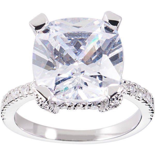 Simon Frank Designs 3.56ct. Cushion-cut Rhodium-overlay CZ Engagement Ring - Silver