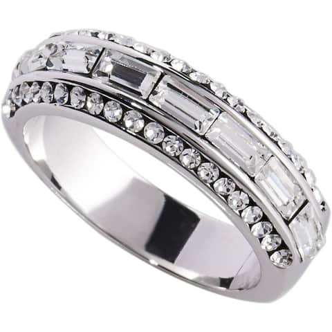 1.91ct TDW Channel set CZ Stackable Band Ring by Simon Fank Designs - Silver