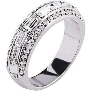 Simon Frank Designs 2.43ct TDW Baguette-cut Channel Set CZ Band Ring - Silver