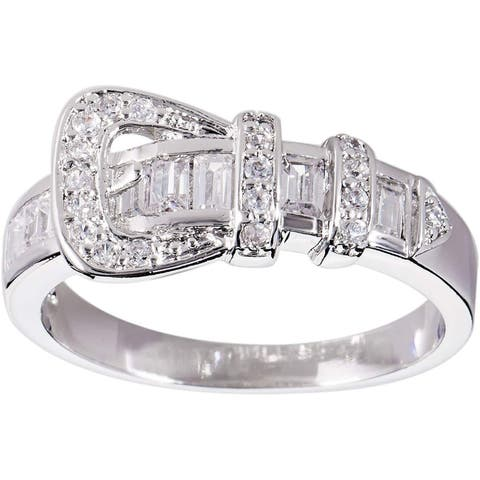 """Buckle"" Silver Cubic Zirconia Band Ring by Simon Frank Designs"