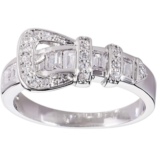 Simon Frank Silvertone 'Beautiful Light' CZ Buckle Ring