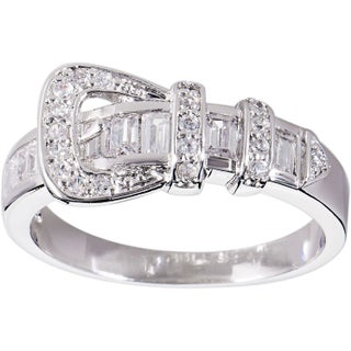 Simon Frank Designs 'Beautiful Light' CZ Buckle Ring - Silver (5 options available)