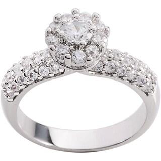 Simon Frank 1.41ct TDW Silvertone CZ Engagement Ring