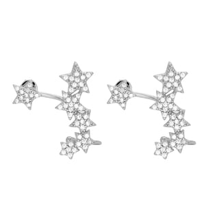 Sterling Essentials Rhodium Plated Silver Stars Ear Cuff CZ Earrings