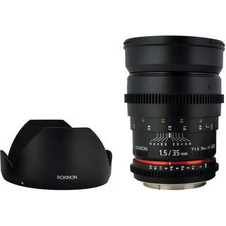 Rokinon 35mm f/1.5 Lens For Canon + UV Kit & Cleaning Bundle
