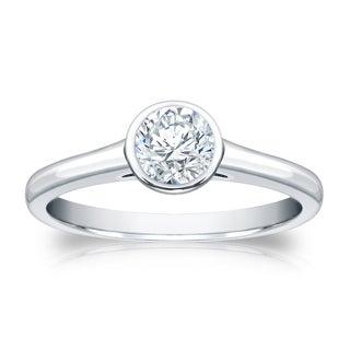 Auriya 18k Gold 3 4ctw Round Bezel Set Solitaire Diamond Engagement Ring