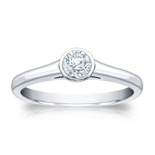 Auriya 18k Gold 1/4ct TDW Round Cut Diamond Bezel Solitaire Ring (H-I, SI1-SI2)