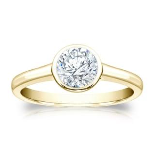 Auriya 14k Gold 3 4ctw Round Bezel Set Solitaire Diamond Engagement Ring