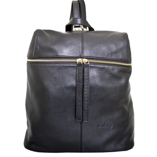 Leatherbay Rosello Black Leather Fashion Backpack