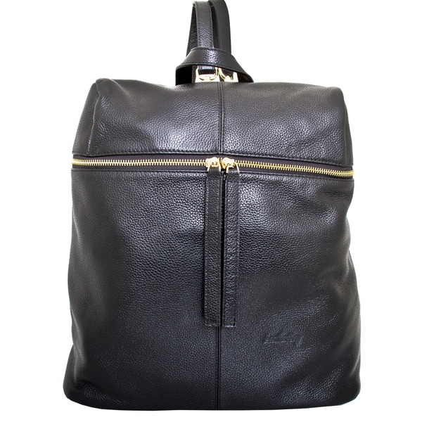 e54d01a7a0fbbc Shop Leatherbay Rosello Black Leather Fashion Backpack - Free ...