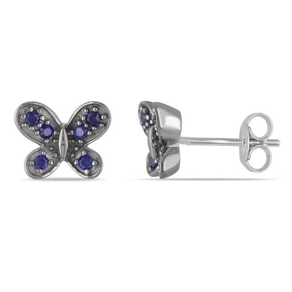 Miadora Sterling Silver Created Blue Sapphire Butterfly Stud Earrings