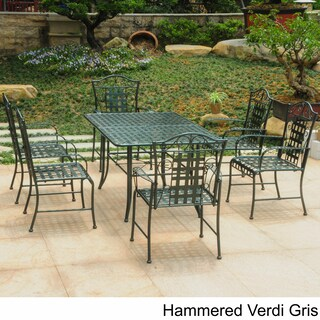 International Caravan Mandalay Iron Rectangular Dining Set (Set of 7) (Option: Green)
