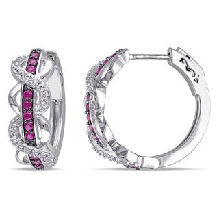 Miadora Sterling Silver Created Ruby and Created White Sapphire Infinity Hoop Earrings