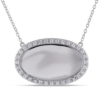 Miadora Sterling Silver Created White Sapphire Oval Necklace