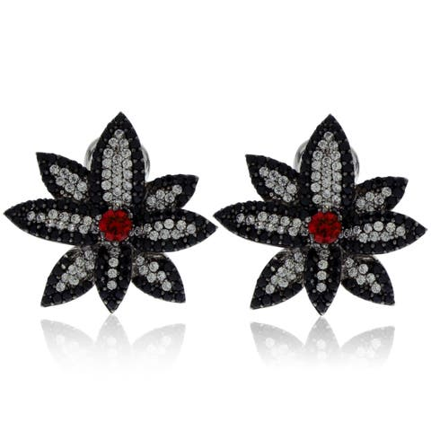 Suzy Levian Sterling Silver Created Ruby and Black and White Cubic Zirconia Floral Earrings
