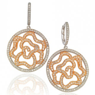 Suzy Levian Two-Tone Sterling Silver White Cubic Zirconia Floral Earrings