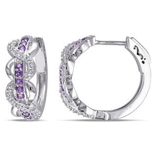 Miadora Sterling Silver Created White Sapphire and Amethyst-Africa Infinity Hoop Earrings