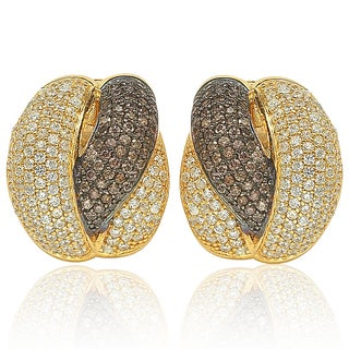 Suzy Levian Golden Sterling Silver Brown Chocolate and White Cubic Zirconia Crossover Earrings