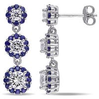 Miadora Sterling Silver Created Blue and White Sapphire Halo Dangle Earrings