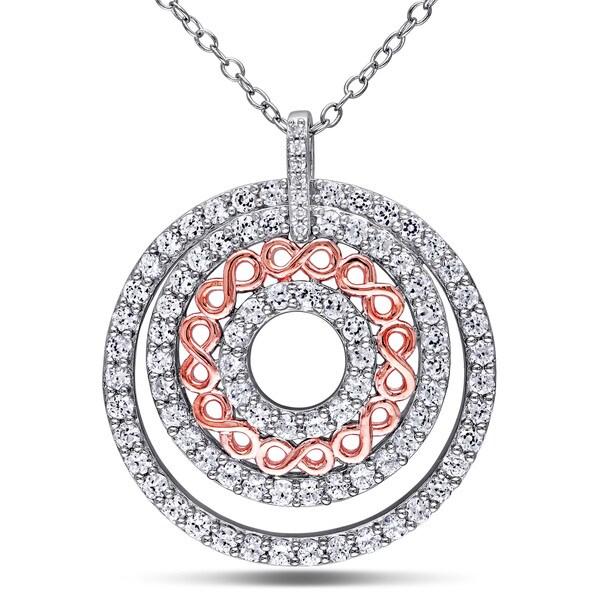 1da3988bf11a09 Miadora Two-tone Sterling Silver Created White Sapphire and Diamond Accent  Circle Infinity Necklace