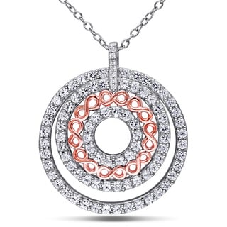 Miadora Two-tone Sterling Silver Created White Sapphire and Diamond Accent Circle Infinity Necklace