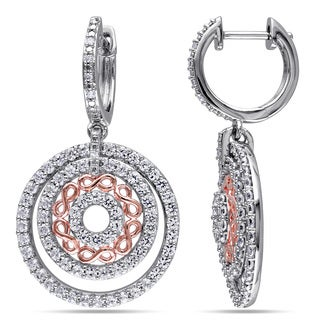 Miadora Two-tone Sterling Silver Created White Sapphire and Diamond Accent Circle Infinity Dangle Earrings