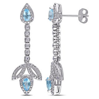 Miadora Sterling Silver Topaz and 1/10ct TDW Diamond Dangle Earrings (G-H, I2-I3)