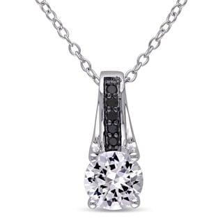 Miadora Sterling Silver Created White Sapphire and Black Diamond Accent Drop Necklace