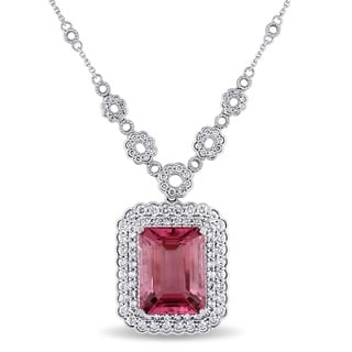 Miadora Signature Collection 14k White Gold Pink Tourmaline and 2 1/10ct TDW Diamond Necklace (G-H, SI1-SI2)