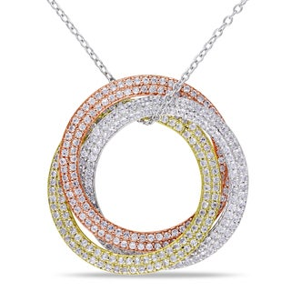 Miadora White, Yellow, and Pink Silver Created White Sapphire Circle Necklace