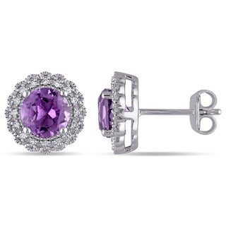 Miadora Silver Amethyst and 1/10ct TDW Diamond Halo Earrings (G-H, I2-I3)