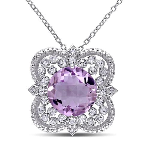 Miadora Sterling Silver Rose de France, White Topaz and Diamond Accent Necklace - Purple