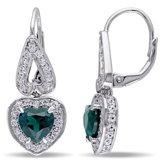 Miadora Sterling Silver Created Emerald and Created White Sapphire Heart Earrings
