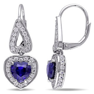 Miadora Sterling Silver Created Blue and White Sapphire Heart Earrings