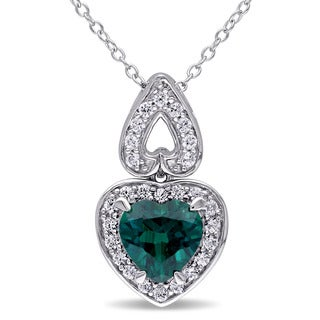 Miadora Sterling Silver Created Emerald and Created White Sapphire Heart Necklace