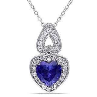 Miadora Sterling Silver Created Blue And White Sapphire Heart Necklace