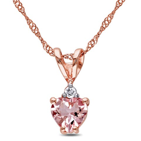 Miadora 10k Rose Gold Heart-cut Morganite and Diamond Accent Necklace - Pink