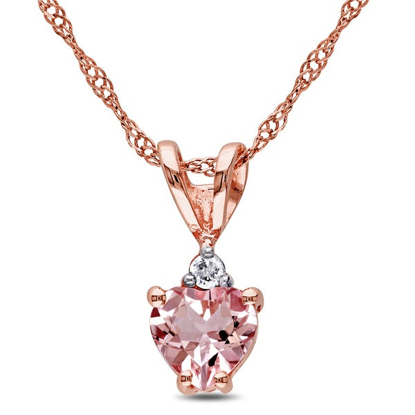 Miadora 10k Rose Gold Heart-cut Morganite and Diamond Accent Necklace - Pink. Opens flyout.