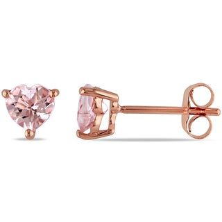 Miadora 10k Rose Gold Heart-cut Morganite Stud Earrings