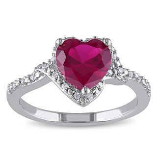 Miadora Sterling Silver Created Ruby and 1/10ct TDW Diamond Heart Ring (G-H, I2-I3)