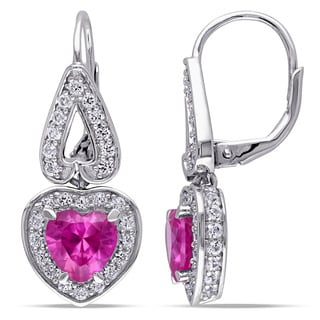 Miadora Sterling Silver Created Pink And White Sapphire Heart Earrings