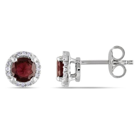 Miadora Sterling Silver Garnet and Diamond Accent Halo Earrings