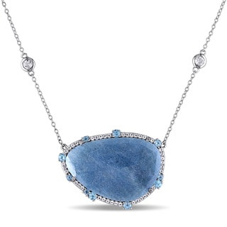 Miadora Sterling Silver 18 3/4ct TGW Blue Quartz and Topaz Necklace