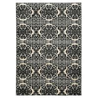 Linon Elegance Snowflakes Grey Rug (2' x 3')
