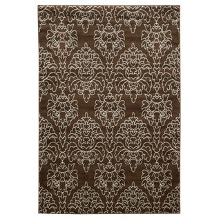 Linon Elegance Damask Brown Rug (8' x 10')