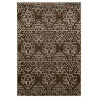 Linon Elegance Damask Brown Rug (8' x 10') - 8' x 10'